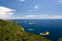 Archipelago in front of mljet island, dubrovnik-neretva, dalmatia, croatia, e Stock Photos