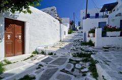 alley in naoussa, paros, cyclades, greece, europe - stock photo