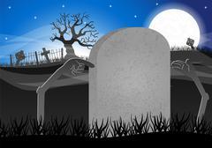 halloween grave stone to write on - stock illustration