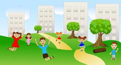 Stock Illustration of children play the green lawn near pitch houses