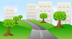 asphalt-paved road to the pitch houses - stock illustration