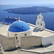 church near firostefani, chapel with a blue domed roof, santorini, cyclades,  - stock photo