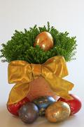 Coloured easter eggs with golden ornament Stock Photos