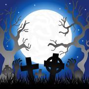 Full moon over the cemetery Stock Illustration