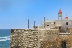 Pizani harbor walls and st. john church in acre, israel Stock Photos