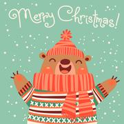 Christmas card with a cute brown bear. - stock illustration