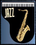 Stock Illustration of saxophone piano background