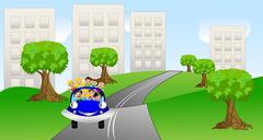 family goes from a city on a car - stock illustration