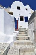 Houses and stairway in a typical cycladic architectural style, oia, ia, santo Stock Photos