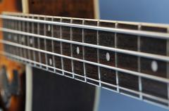 Fingerboard of an acoustic regal bass guitar Stock Photos