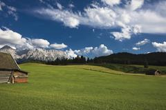 undulating meadow and the karwendel range, werdenfelser land region, upper ba - stock photo