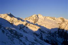 view towards mt. olperer, late evening light, tux alps, tyrol, austria, europ - stock photo