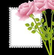 pink rose and greeting-card - stock illustration