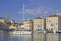 harbour, skyline, piran, istria, slovenia, europe - stock photo