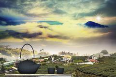 black teapot in chinese village - stock illustration