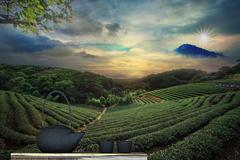 black teapot and chinese landscape - stock illustration
