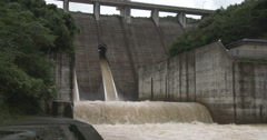 4K / HD Flood Water Flows From Dam Hydroelectric Plant Stock Footage
