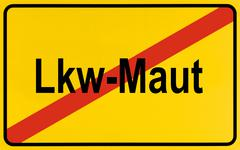 sign, end of city limits, as symbol for the end of truck tolls or lkw-maut - stock photo