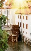 sova's mills with waterman kabourek in prague - stock photo