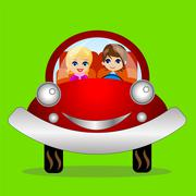 Merry pair in a car on a green background Stock Illustration