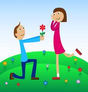 boy gives a flower to the girl - stock illustration