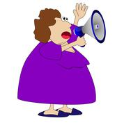 Stock Illustration of complete woman, loud in a megaphone