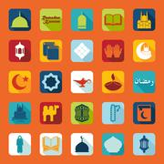 Set of flat icons: Ramadan Kareem - stock illustration