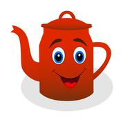 Merry red tea-pot on a white background Stock Illustration