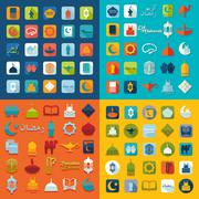 Stock Illustration of Set of flat icons: Ramadan Kareem