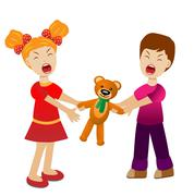 Girl and boy divide a toy bear cry Stock Illustration