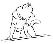toy dog sketch - stock illustration