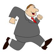 thick business man hurries - stock illustration