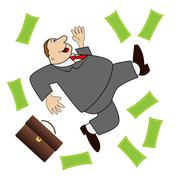 Thick business man is glad to a powerful lot of money Stock Illustration