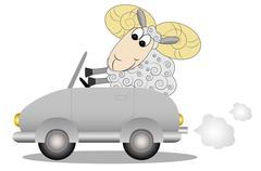 Merry ram after the helm of car Stock Illustration