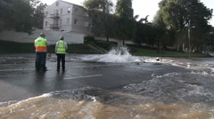 Major Water Main Failure Near UCLA Campus - stock footage