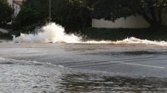 Broken Water Main - Sunset Blvd. Near UCLA Stock Footage