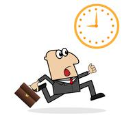 Business man is late on work Stock Illustration