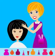 Woman in a beauty salon does a hair-do Stock Illustration