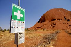 safety advice, ayers rock, uluru, alice springs, northern territory, australi - stock photo