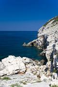 cliffs of the coastal landscape around mljet island, dubrovnik-neretva, dalma - stock photo