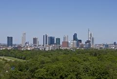 Frankfurt skyline, deutsche bank, commerzbank, messeturm tower block, german  Stock Photos