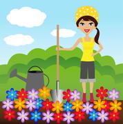 young woman plant flower in soil - stock illustration