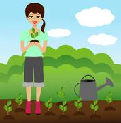 A young woman plants a nursery transplant in soil Stock Illustration