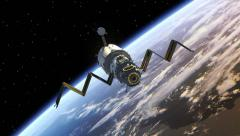 Space Station deploys solar panels. Stock Footage