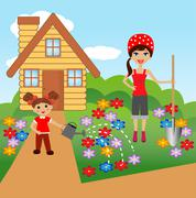 mother with daughter plant flowers in soil - stock illustration
