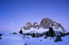 langkofel massif at dusk in wintertime, sasso lungo, bolzano-bozen, italy, eu - stock photo