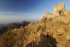 panoramic view over the mountain-top village of shaharah, yemen, arabia, arab - stock photo