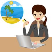 woman buys a tour in vacation after a credit card - stock illustration