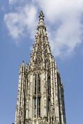 Stock Photo of Ulm Germany pinnacle of the Munster church Europe