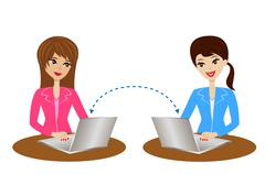 Two women communicate over the internet Stock Illustration